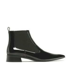 ZARA POINTED CHELSEA PATENT VEGAN ANKLE BOOTS 38